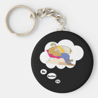 i'd rather be playing Accordian 3 Basic Round Button Keychain