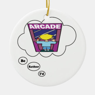 I'd rather be playing Arcade Games 2 Double-Sided Ceramic Round Christmas Ornament