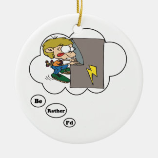 I'd rather be playing Arcade Games 3 Double-Sided Ceramic Round Christmas Ornament