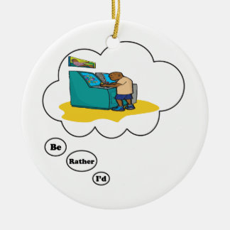 I'd rather be playing Arcade Games 4 Double-Sided Ceramic Round Christmas Ornament