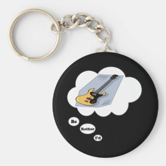 i'd rather be playing Bass Guitar 3 Basic Round Button Keychain