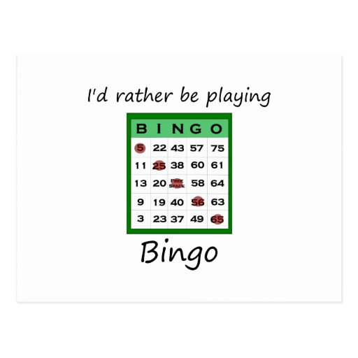 I'd rather be playing bingo (card) postcard