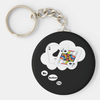 I'd rather be playing BlackJack 2 Basic Round Button Keychain