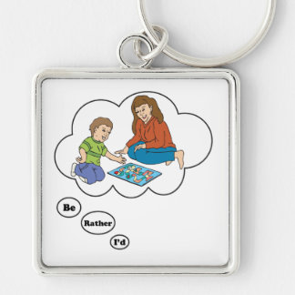 I'd rather be playing Board Games 5 Silver-Colored Square Keychain