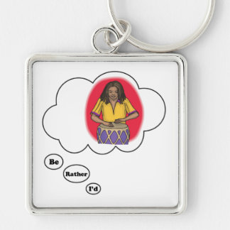 i'd rather be playing Bongos 3 Silver-Colored Square Keychain