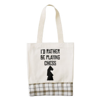 I'd Rather Be Playing Chess Zazzle HEART Tote Bag