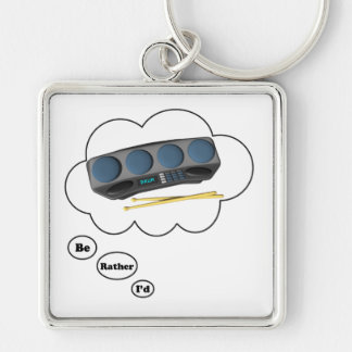 i'd rather be playing Drum Machines Silver-Colored Square Keychain