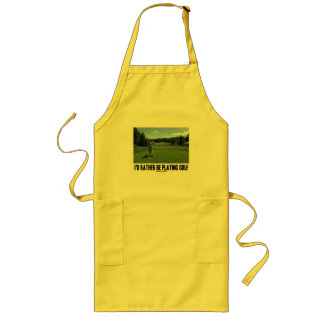 I'd Rather Be Playing Golf (Golfer On Golf Course) Long Apron
