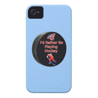I'd Rather Be Playing Hockey iPhone 4 Cover