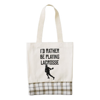 I'd Rather Be Playing Lacrosse Zazzle HEART Tote Bag