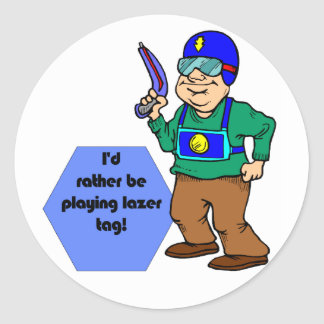 I'd Rather Be Playing Lazer Tag! Classic Round Sticker