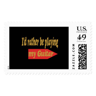 I'd Rather Be Playing My Guitar - Black background Postage