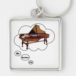 i'd rather be playing Piano 7 Silver-Colored Square Keychain