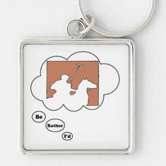 I'd rather be playing Polo 3 Silver-Colored Square Keychain