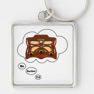 i'd rather be playing Radio Silver-Colored Square Keychain