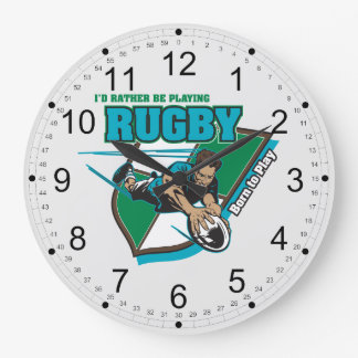 I'd Rather Be Playing Rugby Large Clock