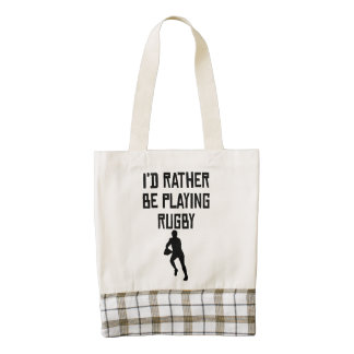 I'd Rather Be Playing Rugby Zazzle HEART Tote Bag