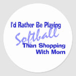 I'd Rather Be Playing Softball Classic Round Sticker