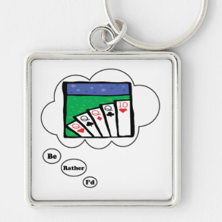 I'd rather be playing Spades Silver-Colored Square Keychain