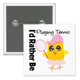 I'd Rather Be Playing Tennis 2 Inch Square Button