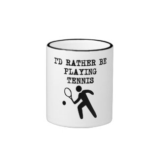 I'd Rather Be Playing Tennis Ringer Coffee Mug