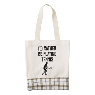 I'd Rather Be Playing Tennis Zazzle HEART Tote Bag