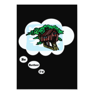 I'd rather be playing Tree House 5x7 Paper Invitation Card