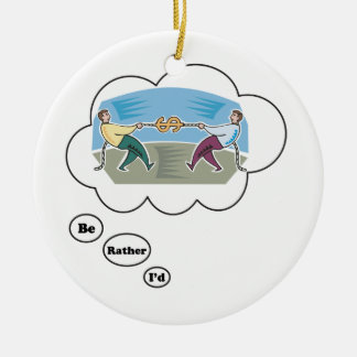 I'd rather be playing Tug of War 3 Double-Sided Ceramic Round Christmas Ornament