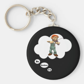 i'd rather be playing Violin 4 Basic Round Button Keychain
