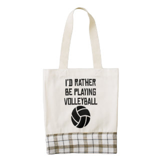 I'd Rather Be Playing Volleyball Zazzle HEART Tote Bag