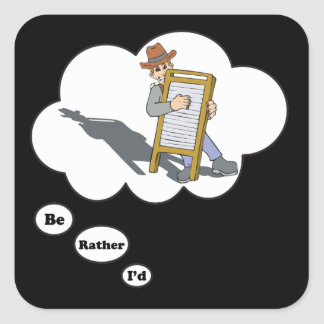 i'd rather be playing Washboard Square Sticker