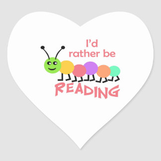 ID RATHER BE READING HEART STICKER