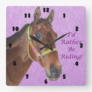 I'd Rather Be Riding! Horse Square Wall Clock