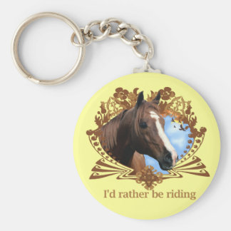 I'd Rather Be Riding Horses Basic Round Button Keychain