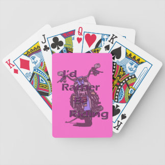I'd Rather Be Riding Motorcycle Black Purple Bicycle Playing Cards