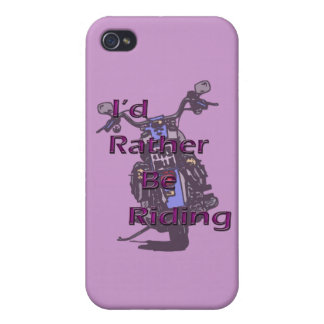 I'd Rather Be Riding Motorcycle Black Purple iPhone 4 Covers