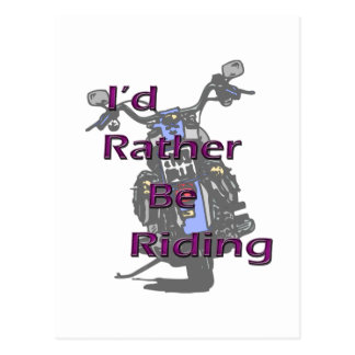 I'd Rather Be Riding Motorcycle Black Purple Postcard
