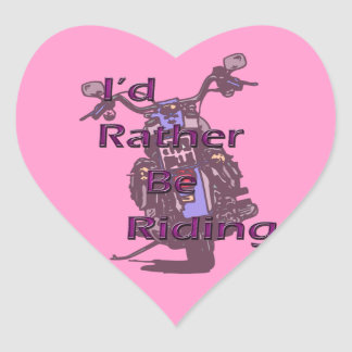 I'd Rather Be Riding Motorcycle Black Purple Stickers