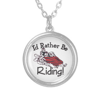 Id Rather Be Riding Round Pendant Necklace