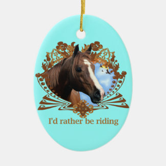 I'd Rather Be Riding Double-Sided Oval Ceramic Christmas Ornament