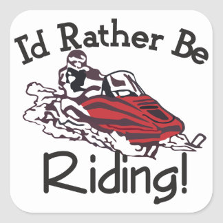 Id Rather Be Riding Square Sticker