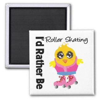 I'd Rather Be Roller Skating 2 Inch Square Magnet