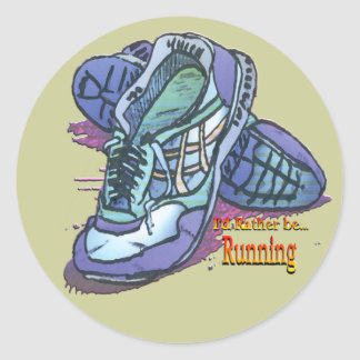 I'd Rather Be Running - Sneakers Classic Round Sticker