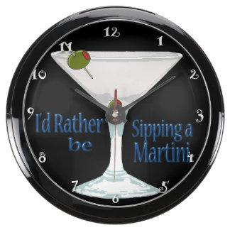 I'd Rather Be Sipping a Martini Aqua Clock