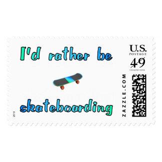 I'd rather be skateboarding postage stamp