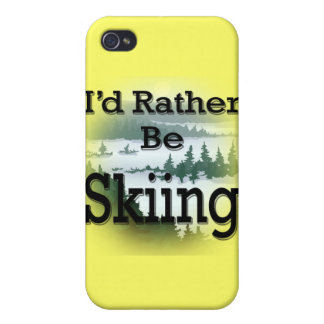I'd Rather Be Skiing black iPhone 4 Cover