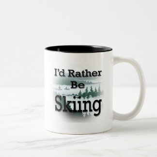 I'd Rather Be Skiing  black Mugs