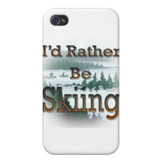 I'd Rather Be Skiing brown iPhone 4 Case