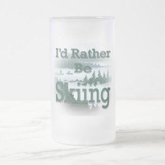 I'd Rather Be Skiing green Coffee Mug