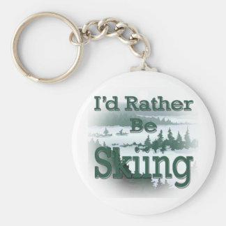 I'd Rather Be Skiing green Key Chains